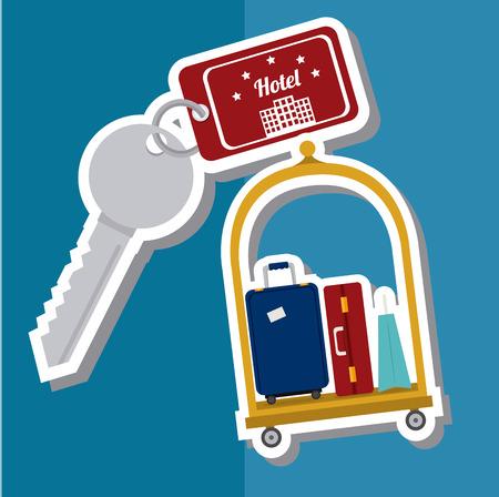haversack: Hotel design over blue background, vector illustration. Illustration