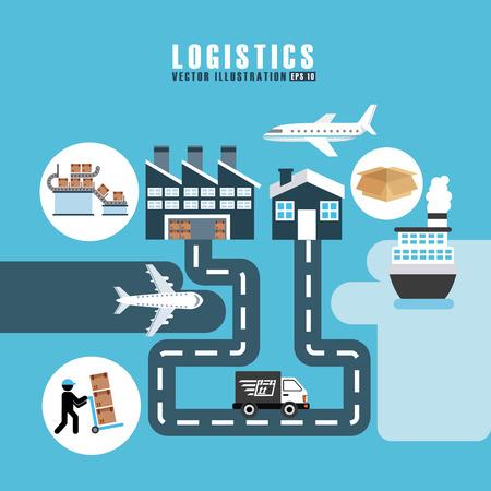 transportes: diseño de la logística del transporte, ejemplo gráfico del vector eps10 Vectores