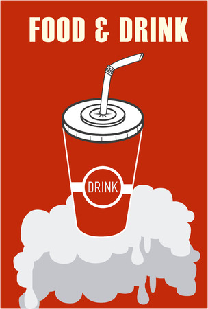 plastic straw: Food design over red background, vector illustration.