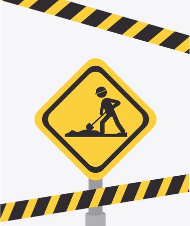 barrier tape: Construction design over white background, vector illustration.