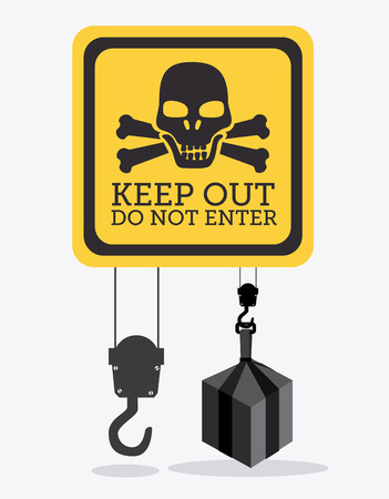 keep out: Construction design over white background, vector illustration.
