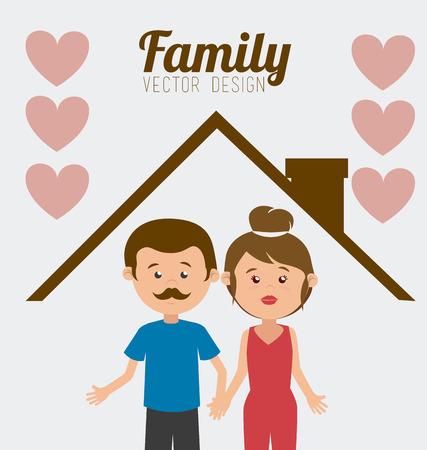 house wife: Family design over white background, vector illustration. Illustration