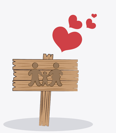 singpost: Family design over white background, vector illustration. Illustration