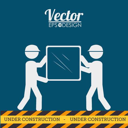 mirrow: Construction design over blue background, vector illustration.