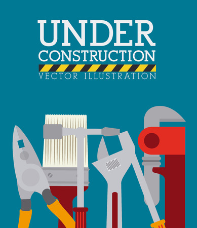 in the reconstruction: Construction design over blue background, vector illustration.