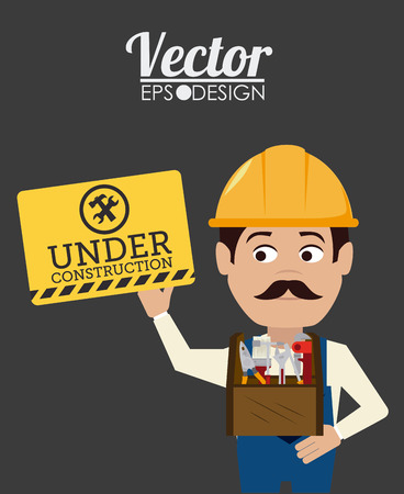 recondition: Construction design over gray background, vector illustration.