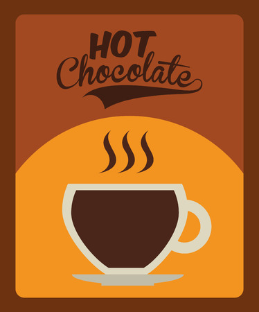 hot chocolate drink: Dise�o de chocolate Bebida caliente sobre dise�o marr�n, ilustraci�n. Vectores