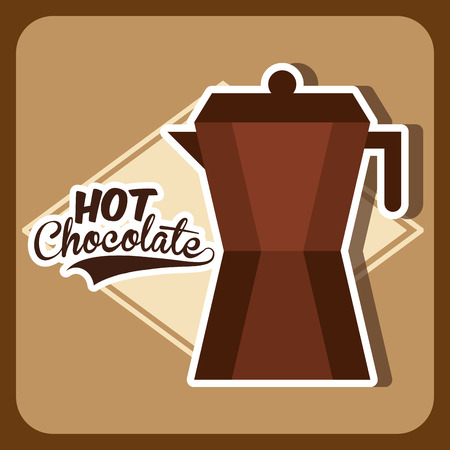 hot chocolate drink: Dise�o de chocolate Bebida caliente sobre dise�o marr�n