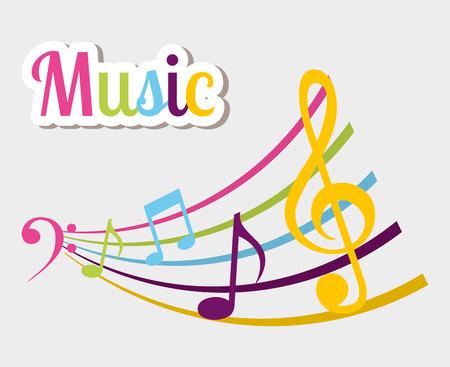 pentagramma musicale: Design Musica su sfondo bianco Vettoriali