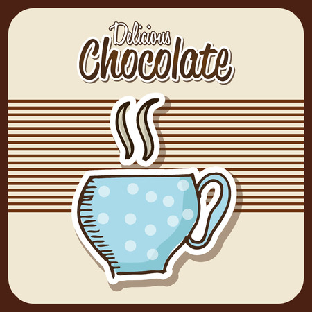 chocolate drink: Hot chocolate Drink design over brown design