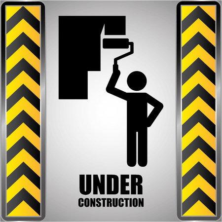 barrier tape: Under Construction design over black and yellow stripes background