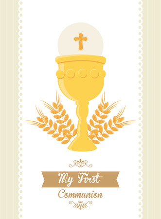 Mi primera comunión, ilustración, diseño Foto de archivo - 36679516