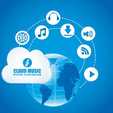 cloud music design illustration Vector