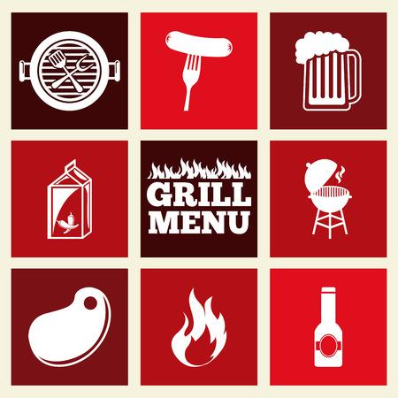 bbq sauce: grill menu design illustration Illustration