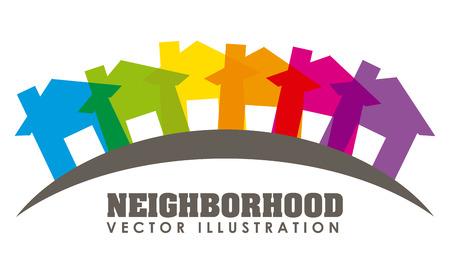 silhouette maison: quartier illustration de conception