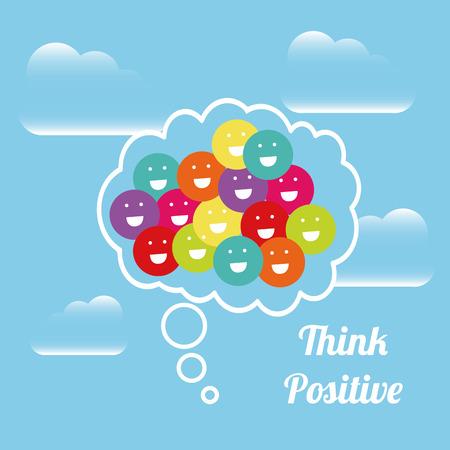 actitud positiva: pensar, ilustraci�n, dise�o positivo