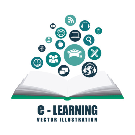 learning concept: e-learning design illustration Illustration
