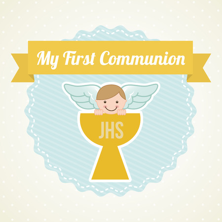 holy symbol: mi primera comuni�n, ilustraci�n, dise�o