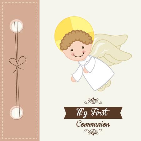 catholic angel: my first communion design illustration