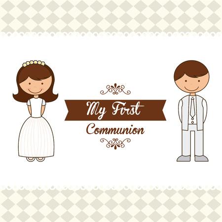comunion: mi primera comuni�n, ilustraci�n, dise�o