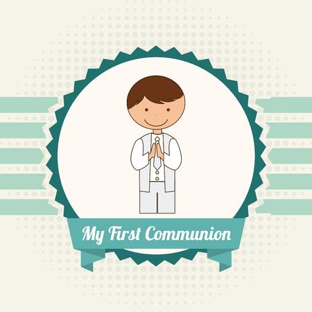 gar�on souriant: ma premi�re communion illustration de conception Illustration