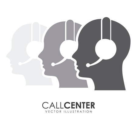business center: call center operator design illustration