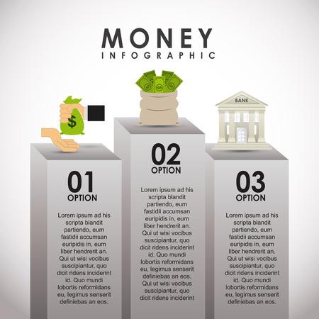 bank building: money infographics design illustration