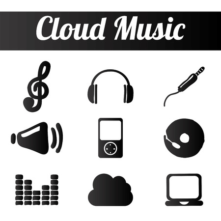 cloud music design illustration Vector