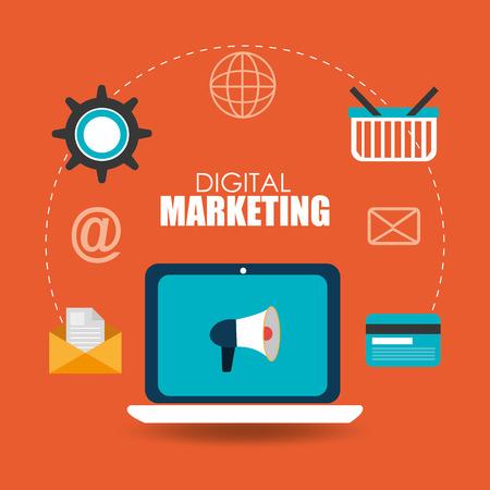 digital marketing: digital Marketing design over orange background
