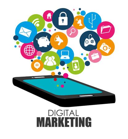 흰색 배경 위에 디지털 마케팅 디자인 일러스트