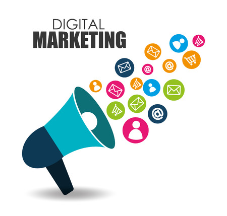白い背景の上のデジタル マーケティング デザイン