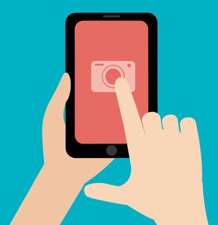 finger touch: Finger touch camera app in phone design over blue background Illustration