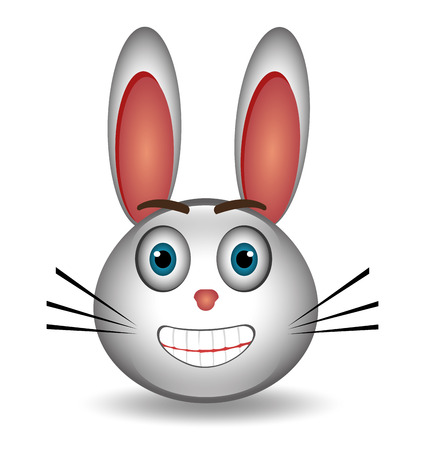 hapiness: Rabbit Cartoon expression design over white background