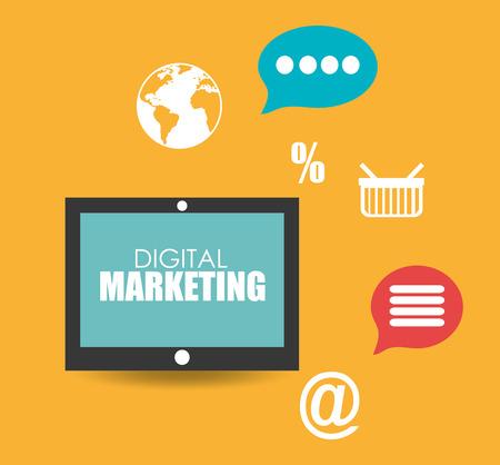 digital data: digital Marketing design over yellow background