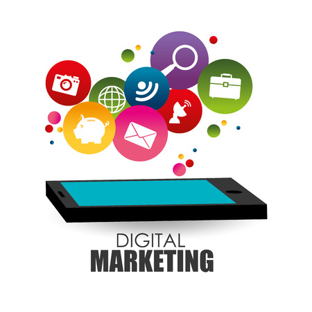 digital Marketing design over white background