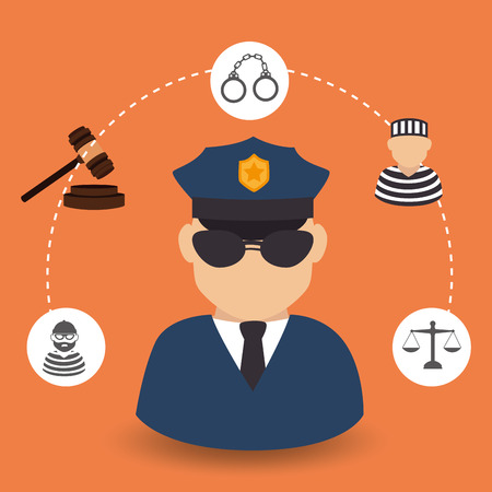 judgments: Law design over orange background Illustration