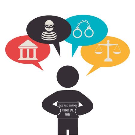 tribunal: Law design over white background Illustration