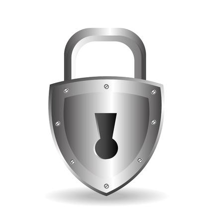 Sicherheitsschloss-Design über weißem Hintergrund Vektorgrafik