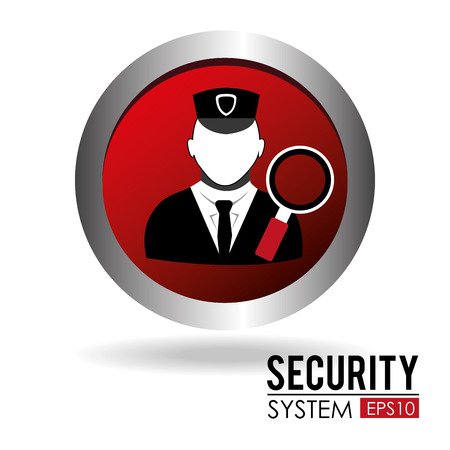 Security system person design over white background Illustration