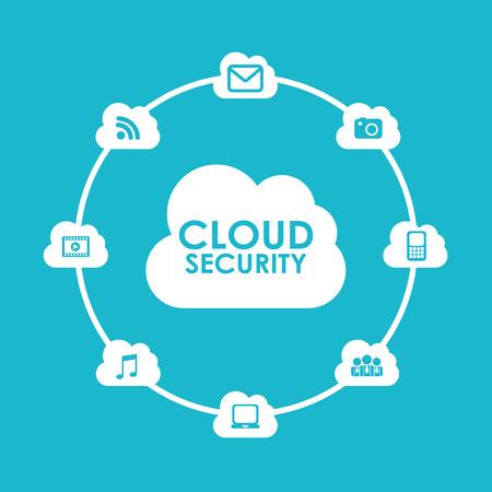 cloud security: cloud security design, vector illustration