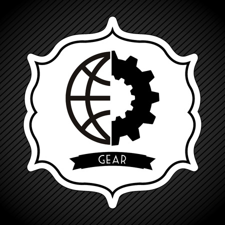 globally: gear icon design, vector illustration