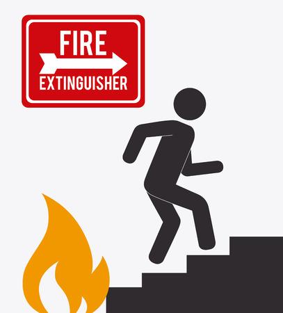 fire extinguisher sign: Emergency design over white background, vector illustration.
