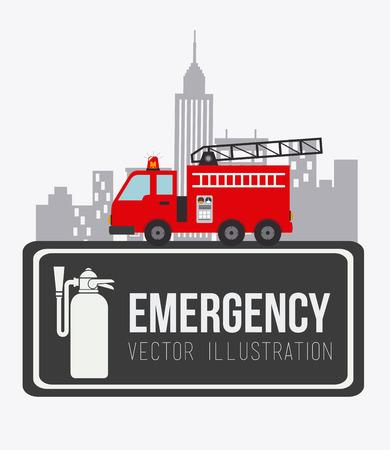 firetruck: Emergency design over white background, vector illustration.
