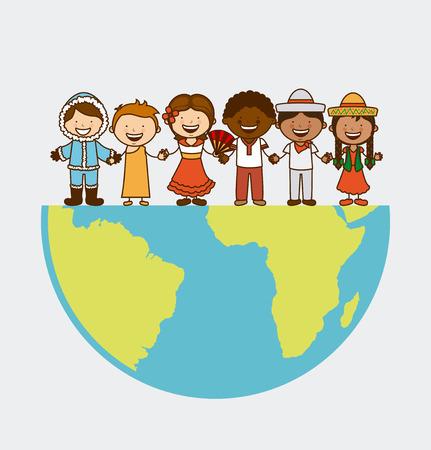 etnia: diseño de la comunidad multiétnica, ilustración vectorial gráfico