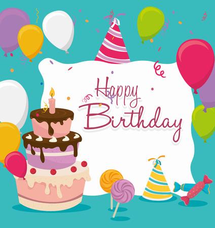 Card design buon compleanno, illustrazione vettoriale. Archivio Fotografico - 36857381