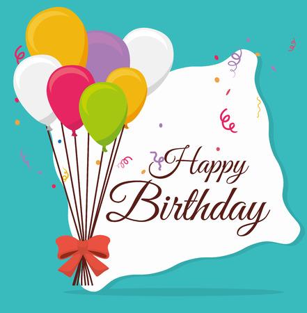 Diseño de la tarjeta de cumpleaños feliz, ilustración vectorial. Foto de archivo - 36857402