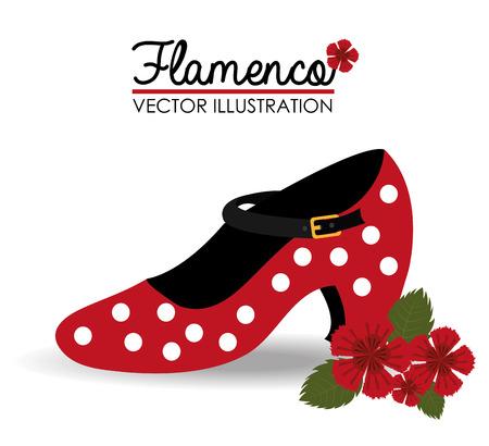 bailando flamenco: Diseño flamenco sobre fondo blanco, ilustración vectorial.