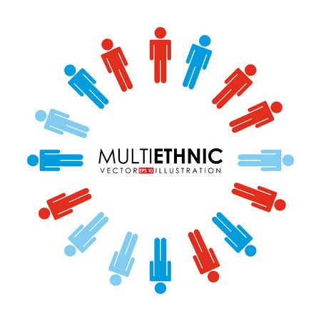 multiethnic people design, vector illustration  graphic Vector