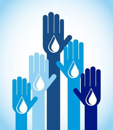 ahorrar agua: guardar el agua de dise�o, ilustraci�n vectorial gr�fico