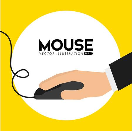 trabajando en computadora: dise�o del rat�n del ordenador, ilustraci�n vectorial gr�fico